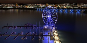 The Capital Wheel Rendering Water View Night Time