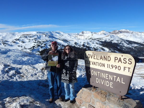 """Pete Shafer, former Alexandrian and super sound man, and his wife Dawn check out the Old Town Crier at the Continental Divide at Loveland Pass in Colorado. Pete and Dawn relocated to beautiful Breckenridge and are """"livin' the dream"""" in the mountains."""