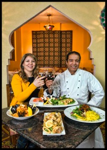 Owner/Executive Chef Samir Labriny, and his wife and co-owner/manager, Hana Labriny (L to R) Paella, Petite Mezza, Calamari, and Lamb Shank.