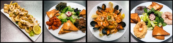 Calamari, Moroccan Salad, Paella, and Humus Trio. ©2015 Chester Simpson