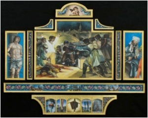 "Chronicles of War-Saints and Martyrs. Oil and gold leaf on linen on panel             2007. 40""x50"""