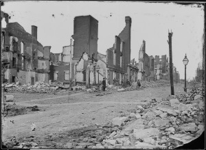 Richmond after the fire of April 1865, photo by Mathew Brady, National Archives.