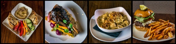 Roast Celery Root Hummus, Lamb Shank, Mac & Cheese, and Marrow Burger. © Chester Simpson