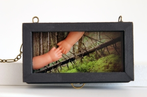 "Hansel & Gretel (miniature) 2015 Inkjet print, dollhouse drawer, microscope lens, acrylic, trim, celluloid hands 2 3/8"" x 1 1/2"" x 5/8"""