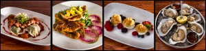 Sauteed Soft Shell Crabs, Roast Duck Breast & Ravioli, Profiteroles of Fromage Blanc & Summer Berries, and Dragon Creek Oysters. © 2015 Chester Simpson