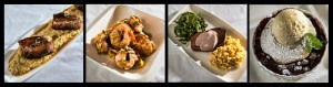 (L to R) Bison Meatloaf, Shrimp and Grits, Blueberry Cobbler, and Molasses Crusted Pork Belly