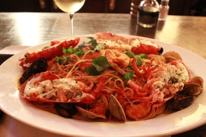 Bond-Spaghetti and seafood platter